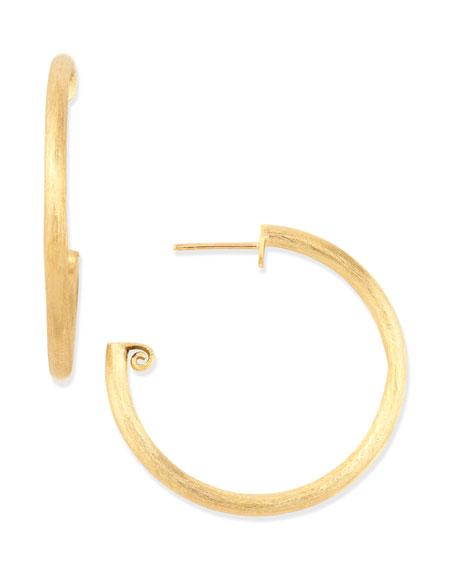 Medium 18k Brushed Gold Hoop Earrings