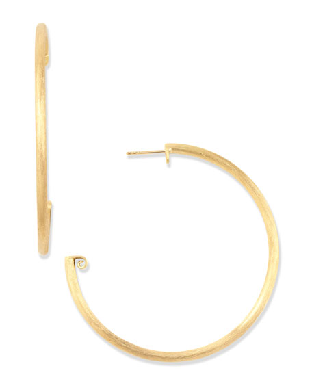 Large 18k Brushed Gold Hoop Earrings