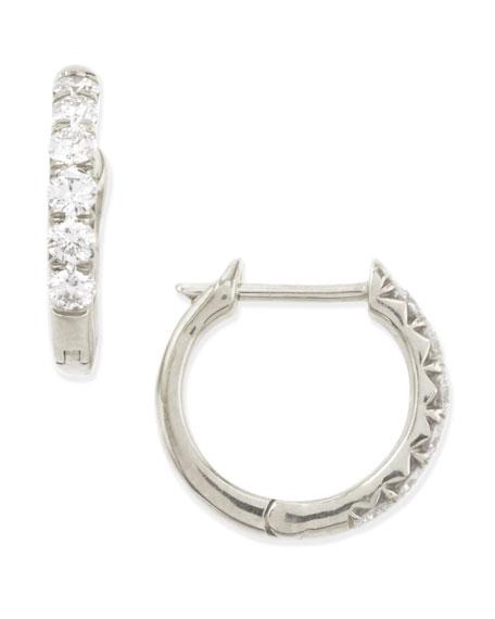 18k White Gold Pave Diamond Hoop Earrings, 17mm