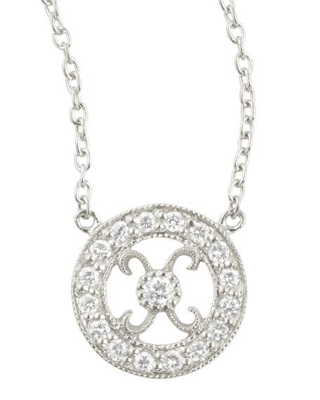 Hugs & Kisses 18k Diamond Tiny Pendant Necklace, White