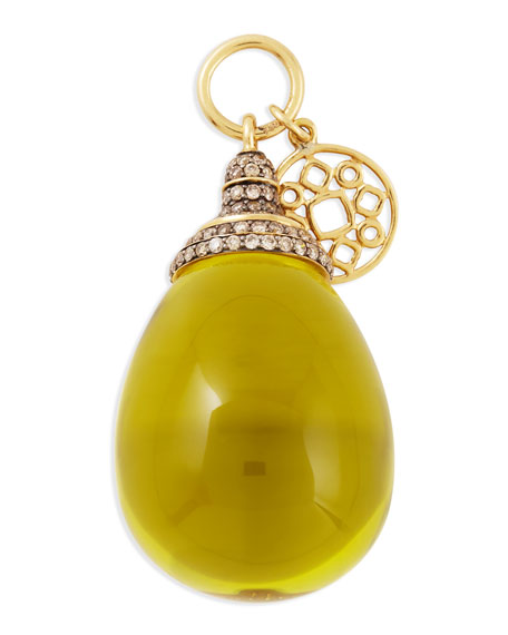 Mogul Pave Diamond Lemon Quartz Drop Pendant
