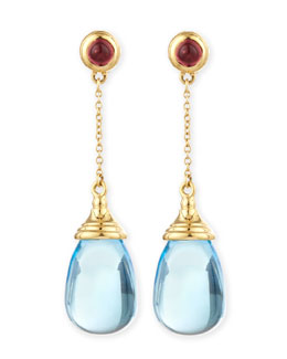 Syna Mogul 18k Blue Topaz Chain Drop Earrings