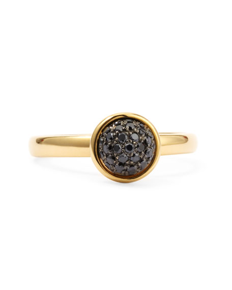 18k Yellow Gold Stacking Baubles Ring, Black Diamond