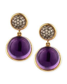 Syna Baubles Big Diamond & Amethyst Earrings