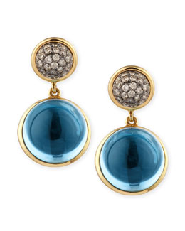Syna Baubles Big Diamond & Blue Topaz Earrings