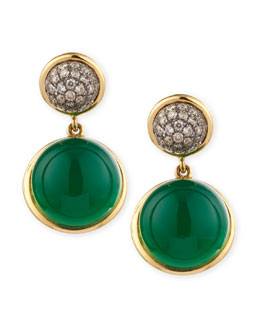 Syna Baubles Big Diamond & Chalcedony Earrings