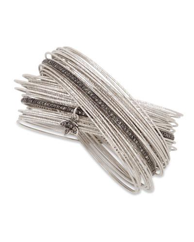 COOMI Spring Silver Interlocking Bracelet with Diamonds