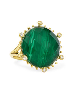Frederic Sage Tivoli Diamond & Malachite 18k Gold Ring
