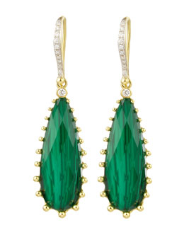 Frederic Sage Tivoli Teardrop Malachite & Diamond Earrings