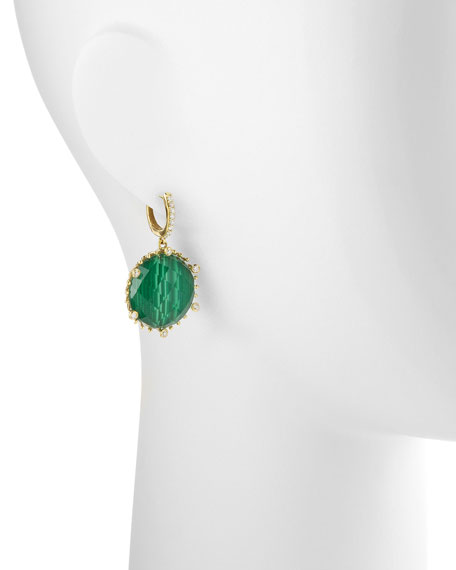 Tivoli Teardrop Malachite & Diamond Earrings