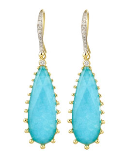 Frederic Sage Tivoli Teardrop Turquoise & Diamond Earrings