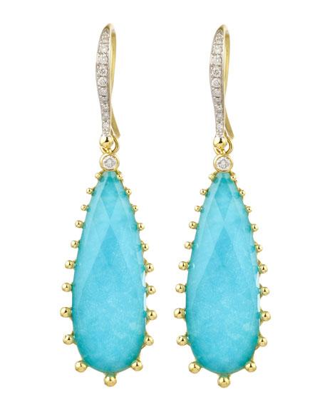 Tivoli Teardrop Turquoise & Diamond Earrings