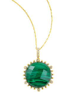 "Frederic Sage Tivoli Diamond & Malachite Pendant Necklace, 17""L"