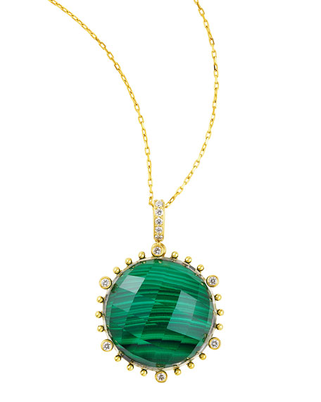 "Tivoli Diamond & Malachite Pendant Necklace, 17""L"
