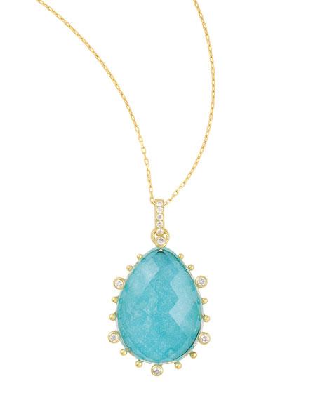 """Tivoli Diamond & Turquoise Teardrop Necklace, 17""""L"""