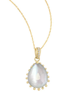 "Frederic Sage Tivoli Diamond & White Mother-of-Pearl Teardrop Necklace, 17""L"