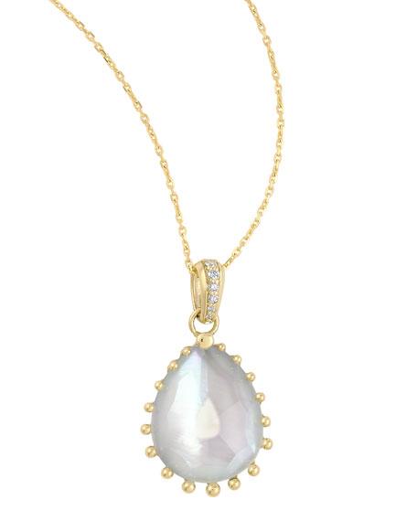 "Tivoli Diamond & White Mother-of-Pearl Teardrop Necklace, 17""L"