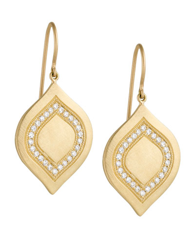Large Interior Pave Aladdin Earrings with Diamonds