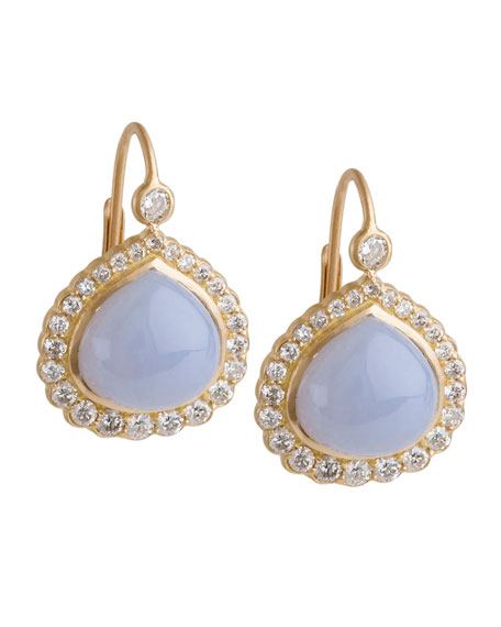 Diamond Edge Bisou Earrings with Blue Chalcedony