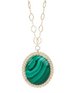 Jamie Wolf Aladdin Edged Oval Pendant Necklace with Malachite and White Topaz