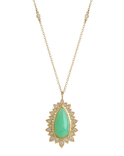 Jamie Wolf Aladdin Pear Pendant Necklace with Chrysoprase and Diamonds