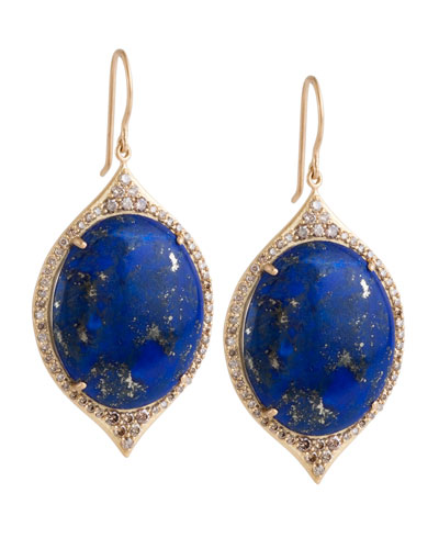 Jamie Wolf Aladdin Pave Oval Earrings with Lapis and Cognac Diamonds