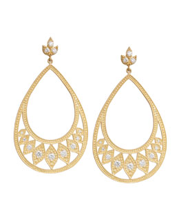 Jamie Wolf Large Engraved Pear Earrings with Leaves and Diamonds
