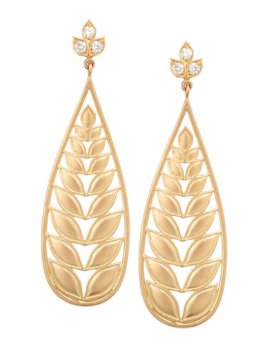 Jamie Wolf Long Leaf Earrings with Diamond Post