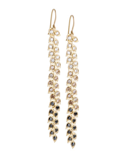 Jamie Wolf Long Vine Earrings with Black, White, and Cognac Diamonds