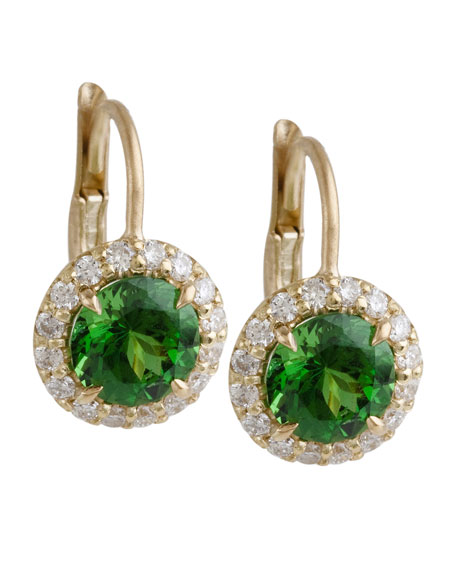 Tsavorite Earrings with Diamond Scallop Edge