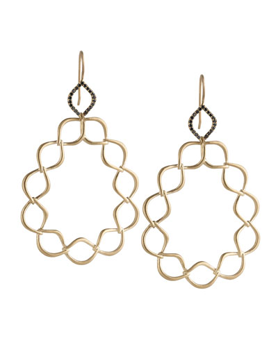 Jamie Wolf Woven Aladdin Link Pear Earrings with Black Diamonds