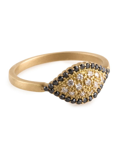 Jamie Wolf Scallop Marquise Ring with Black and Cognac Diamonds, Size 7