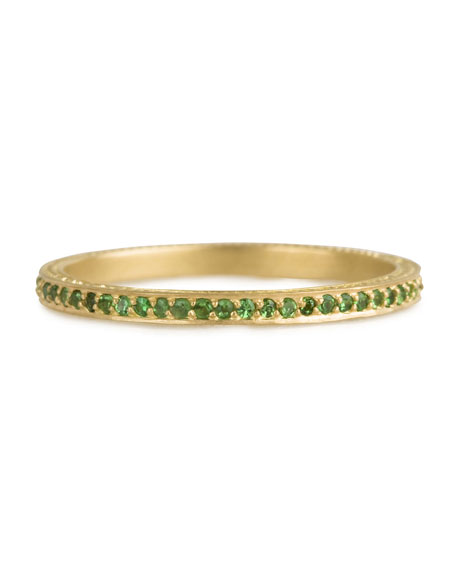 Thin Pave Tsavorite Band Ring, Size 7