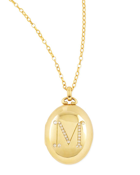 Monica Rich Kosann Bespoke Pave Diamond Initial Gold