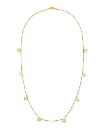 """18k Small Meditation Bell Moonstone Necklace, 28""""L"""
