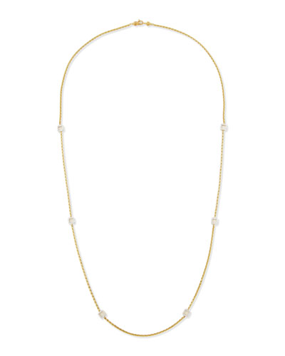 18k Gold Necklace with Diamond Stations, 36