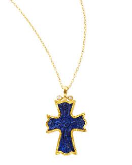 Gurhan 14k Gold Blue Lapis Cross Necklace