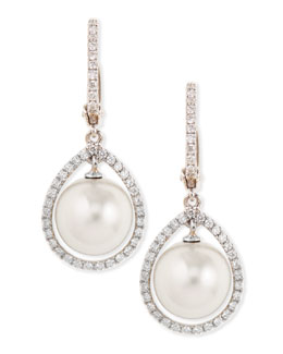 Eli Jewels 18k White South Sea Pearl & Diamond Halo Earrings