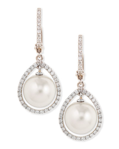 18k White South Sea Pearl & Diamond Halo Earrings