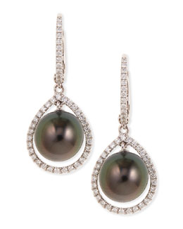 Eli Jewels 18k Gray South Sea Pearl & Diamond Halo Earrings