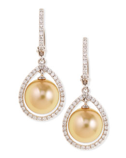 Eli Jewels 18k Golden South Sea Pearl & Diamond Halo Earrings