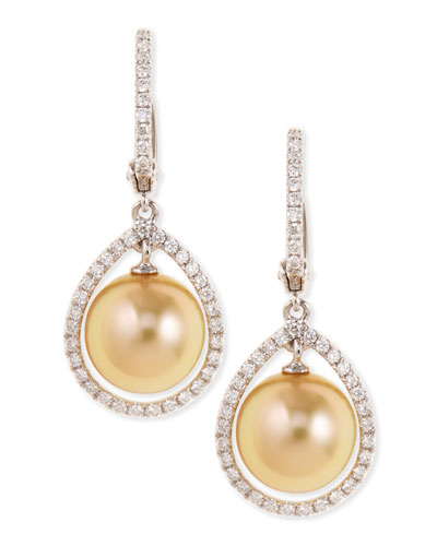 18k Golden South Sea Pearl & Diamond Halo Earrings