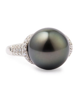 Eli Jewels 18k Gray South Sea Pearl and Diamond Ring