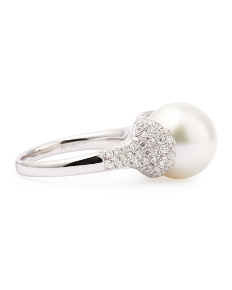 18k White South Sea Pearl and Diamond Ring