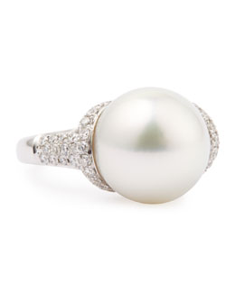 Eli Jewels 18k White South Sea Pearl and Diamond Ring