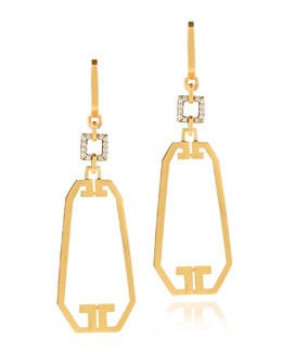 Ivanka Trump Metropolis 18k Open Long Octagon Diamond Earrings