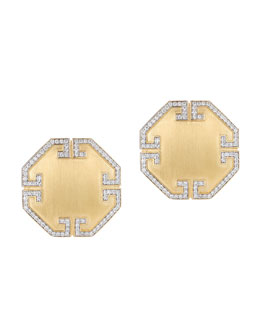 Ivanka Trump Metropolis 18k Octagon Diamond Button Clip Earrings