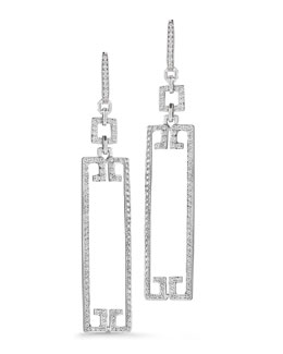 Ivanka Trump Patras Sliver 18k Open Frame Rectangle Diamond Earrings
