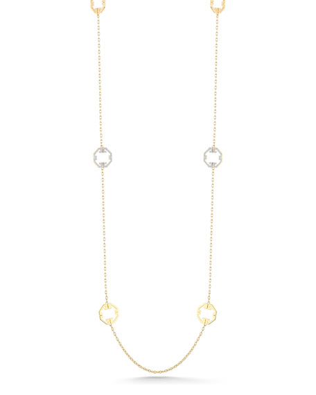 "Metropolis 18k Octagonal Station Necklace, 36""L"