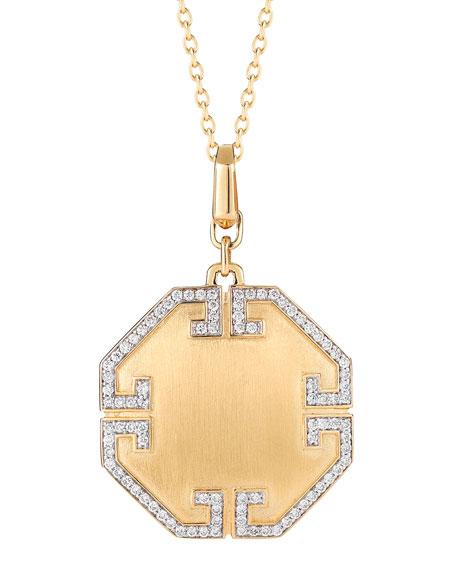 Metropolis 18k Solid Octagonal Pendant with Deco Diamonds